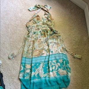 Halter floral knee length dress
